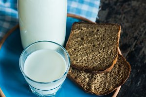 Healthy breakfast with milk and oats
