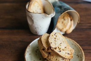 Cantucci cookies on a plate