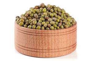 mung bean in a wooden bowl isolated on white background