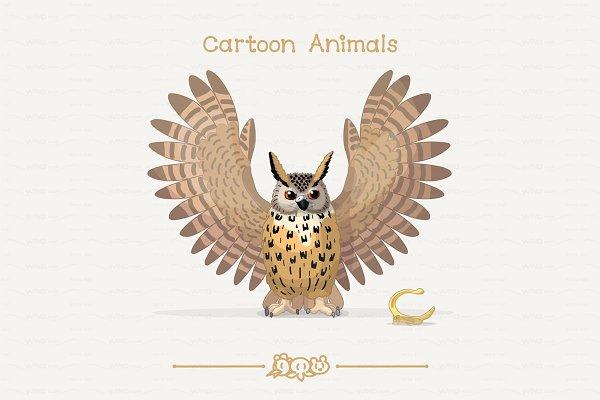 ♥ vector eagle-owl & treehopper