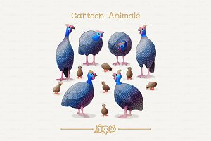♥ vector guineafowls