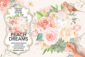 Watercolor Peach Dreams design