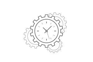 Clock gear line icon