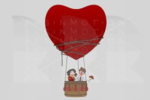 Couple  in love traveling in balloon