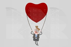 Businessman traveling  in a heart