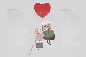 Old couple traveling on balloon