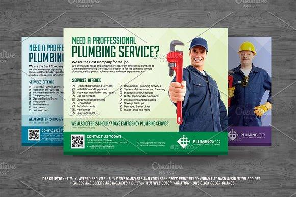 Plumbing Service Flyer Templates Creative Market