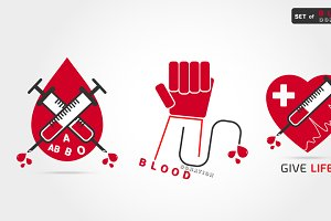 set of logotype blood donation