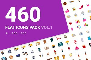 460 flat icons vol.1 90%OFF