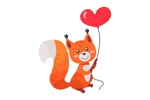 Fox with Red Heart Shaped Balloon in Paws Isolated