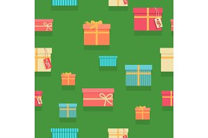 Seamless Pattern Gift Boxes with Ribbons and Bows