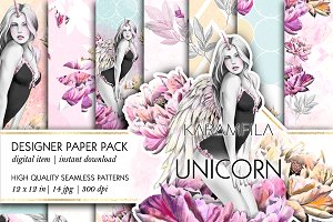 Unicorn Girl Seamless Patterns