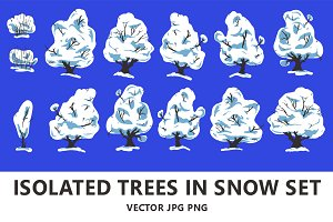 Isolated trees in snow set