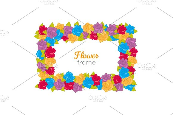 Rectangular Wreath Of Different Blossoms Vector