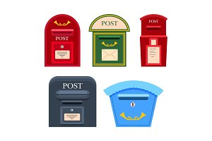 Post Mailbox Vector Colourful Collection on White