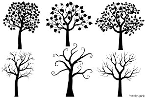 Black tree silhouettes clipart set