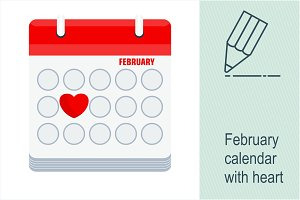 February calendar with heart