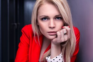 Blonde with blue eyes