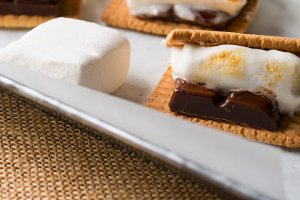 Home made smore marshmallow treat for kids. Banner