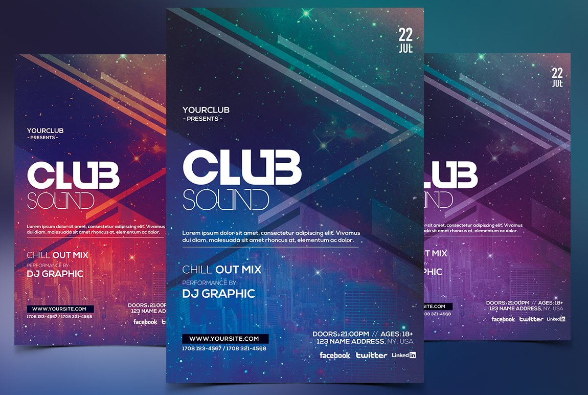 club sound psd flyer template flyer templates creative market. Black Bedroom Furniture Sets. Home Design Ideas