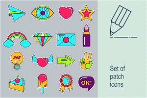 Set of patch icons