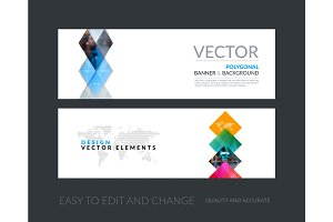 Vector set of modern horizontal website banners with yellow geom