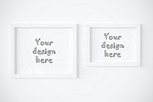 Set x2 different white frames mockup