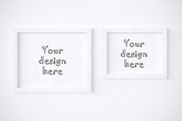 Set x2 different white frames mockup