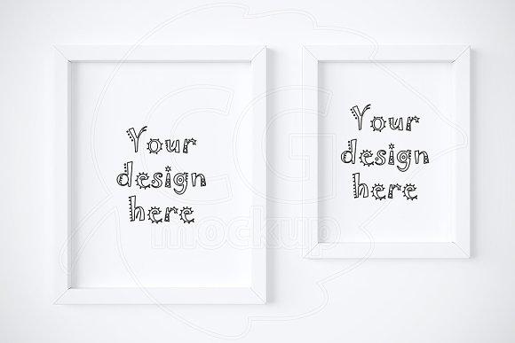 Kit of 2 various white frame mockups