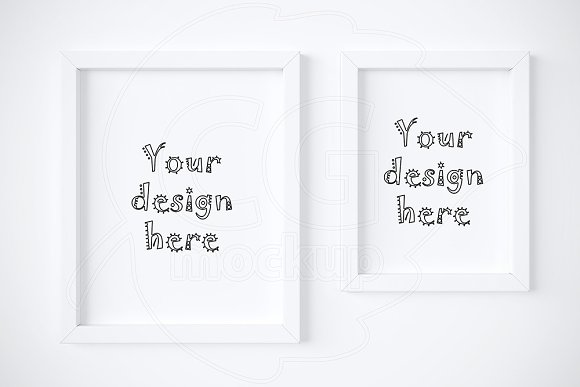 Download Kit of 2 various white frame mockups
