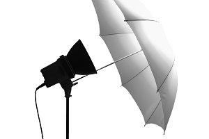 Light umbrella isolated over white