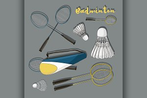 Badminton labels and icons set