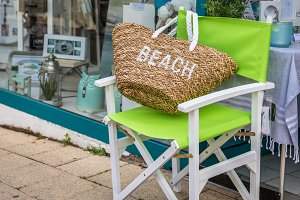 Beach bag on a green Chair