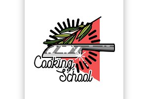Color vintage cooking school emblem