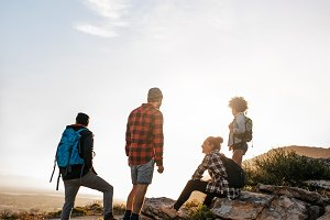 Young people on hike