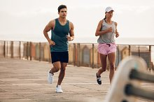 Fitness couple jogging