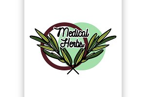medical plants herbs emblem