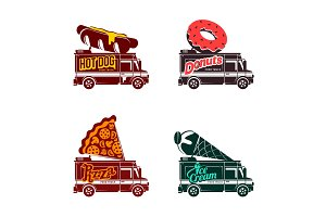Food truck vector flat illustration