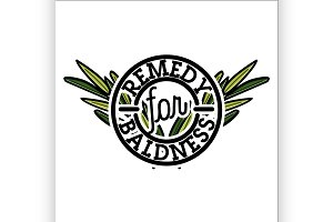 remedy for baldness emblem