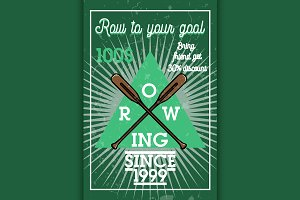 Color vintage rowing banner