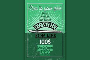 Color vintage rowing banner