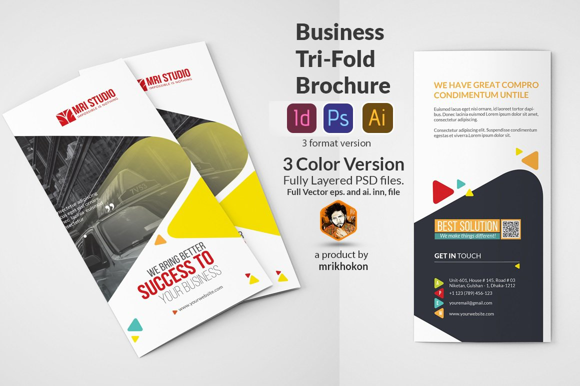 Business tri fold brochure templates brochure templates for Tri fold business brochure template