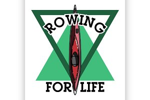 Color vintage rowing emblem