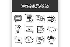 E-education flat icons set