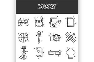 Hobby flat icons set