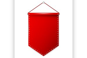 Red pennant hanging, mockup