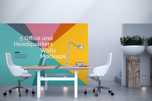 5 Office Headquarters Walls Mockups