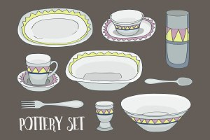 Pottery icon set