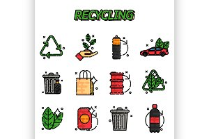 Recycling flat icons set