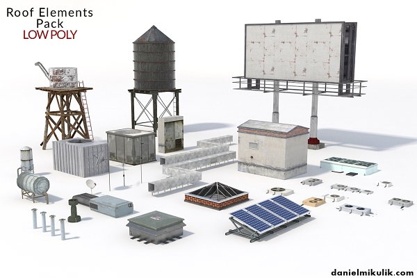 3D Objects: Daniel Mikulik - Low Poly Roof Element PACK